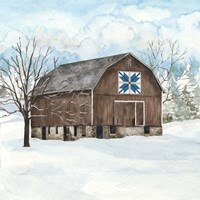 Winter Barn Quilt III Framed Print