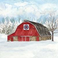 Winter Barn Quilt IV Framed Print