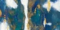 Blue Texture I Gold Crop Framed Print