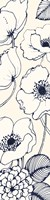 Navy Pen and Ink Flowers III Crop Fine Art Print