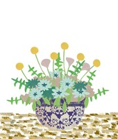 Soft Blooms in Vase With Border IV Fine Art Print