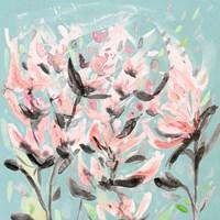 Wild Flowers on Teal Fine Art Print