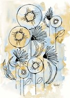 Yellow and Blue Blooms I Fine Art Print