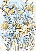 Yellow and Blue Blooms II Fine Art Print