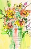 Bursting Wildflowers in Vase Fine Art Print