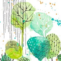 Green Stamped Leaves Square II Fine Art Print