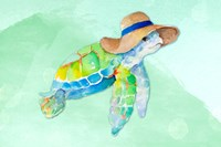Turtle With Hat on Watercolor (blue) Fine Art Print