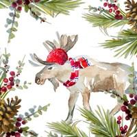 Holiday Moose Framed Print