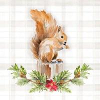 Holiday Woodland Garland on Plaid III Fine Art Print