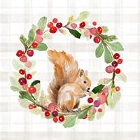Holiday Woodland Wreath on Plaid II Fine Art Print