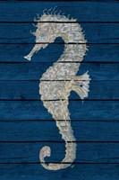 Antique Seahorse on Blue II Framed Print