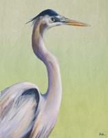 Blue Heron on Green I Fine Art Print