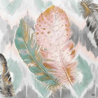 Ikat Feathers II Fine Art Print