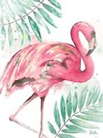 Watercolor Leaf Flamingo II Framed Print