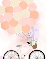 Bike Ride With Balloons Framed Print