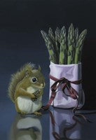 Squirrel And Asparagus Fine Art Print