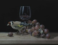 The Goldfinch And The Glass Of Wine Fine Art Print