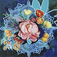 Peony Bouquet Mandala Framed Print
