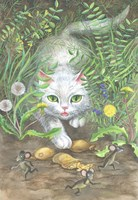 White Cat And Mice Fine Art Print