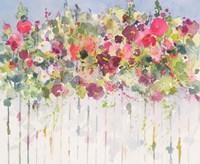 Hollyhocks Over Fence Fine Art Print