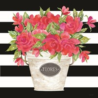 Fuchsia Flores Stripes Fine Art Print