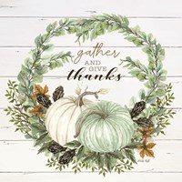 Gather and Give Thanks Wreath Framed Print