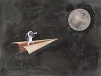 Paper Airplane to the Moon Fine Art Print