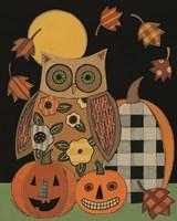 Floral Owl and Pumpkins Fine Art Print