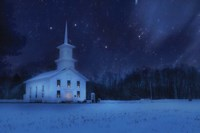 Starry Night Church Framed Print