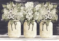 White Floral Trio Framed Print