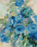 Flower Market II Blue Framed Print