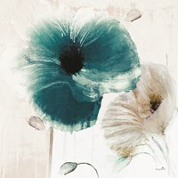 Teal Poppies II Fine Art Print