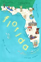 Illustrated State Maps Florida Fine Art Print