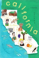 Illustrated State Maps California Fine Art Print
