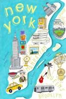 Illustrated State Maps New York Fine Art Print