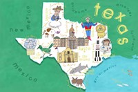 Illustrated State Maps Texas Fine Art Print