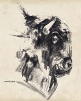 Bison Head Gesture I Framed Print