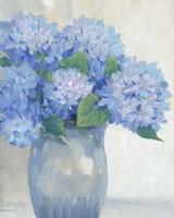 Blue Hydrangeas in Vase I Framed Print