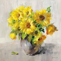 Sunflower Still Life II on Gray Framed Print