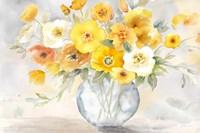 Bright Poppies Vase yellow gray Fine Art Print