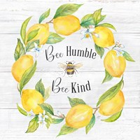 Lemons & Bees Sentiment  woodgrain I Framed Print