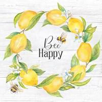 Lemons & Bees Sentiment woodgrain II Fine Art Print