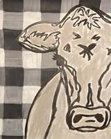 Farm Sketch Cow buffalo plaid Fine Art Print