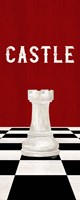 Rather be Playing Chess Pieces Red Panel II-Castle Fine Art Print