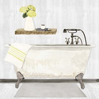 Farmhouse Bath I Gray & Yellow-Tub Fine Art Print