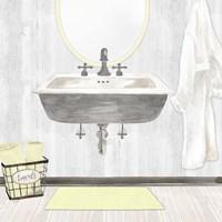 Farmhouse Bath II Gray & Yellow-Sink Framed Print