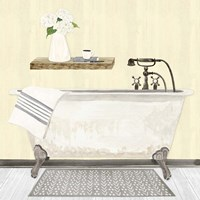 Farmhouse Bath I Gray & Yellow 2-Tub Fine Art Print