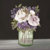 Lilac Mason Jar Floral Framed Print