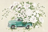 White Floral Truck Fine Art Print