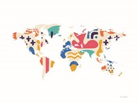 Abstract Colorful World Map Framed Print